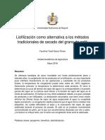Liofilización Como Alternativa a Los Métodos Tradicionales de Secado Del Grano de Café