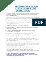 14- La Estructuración de Los Objetivos 2 (Para Que Investigar)