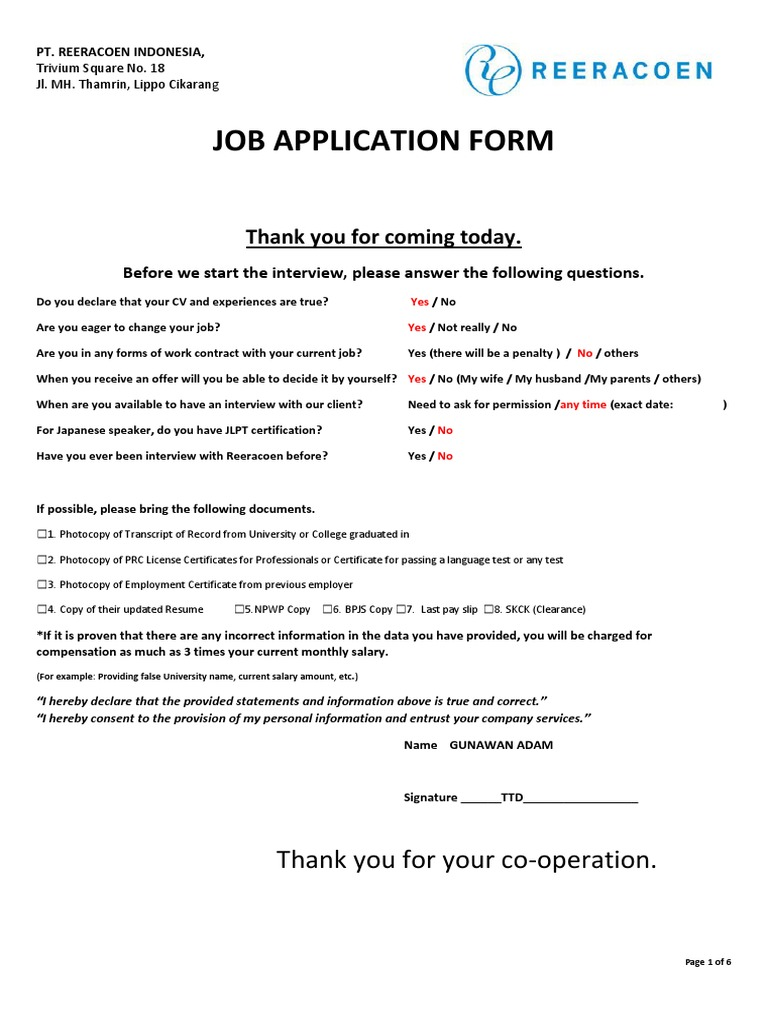 pt reeracoen indonesia job application form 2 employment