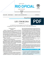 Ley 1738 de 2014 (Prorroga Ley de Orden Público, Ley 418 de 1997)