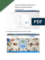 Instructivo Para La Utilización de La Plataforma Google Classroom