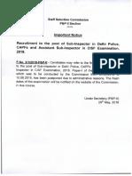 SSC CPO Exam Postponed Official Notice 2018