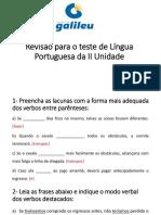 Revisão Para o Teste de Língua Portuguesa Da