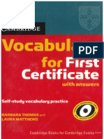 Vocabulary for First Certificate. Cambridge