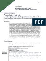 Pronunciación y Expresión. Un estudio preliminar sobre las posibilidades articulatorias de las consonantes del español como recursos musicales expresivos
