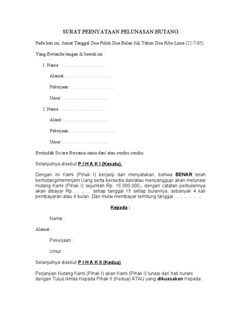 Surat Pernyataan Pelunasan Hutang