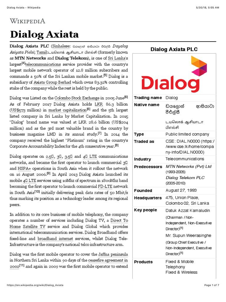 Dialog Axiata - Wikipedia | Telecommunications | Networks