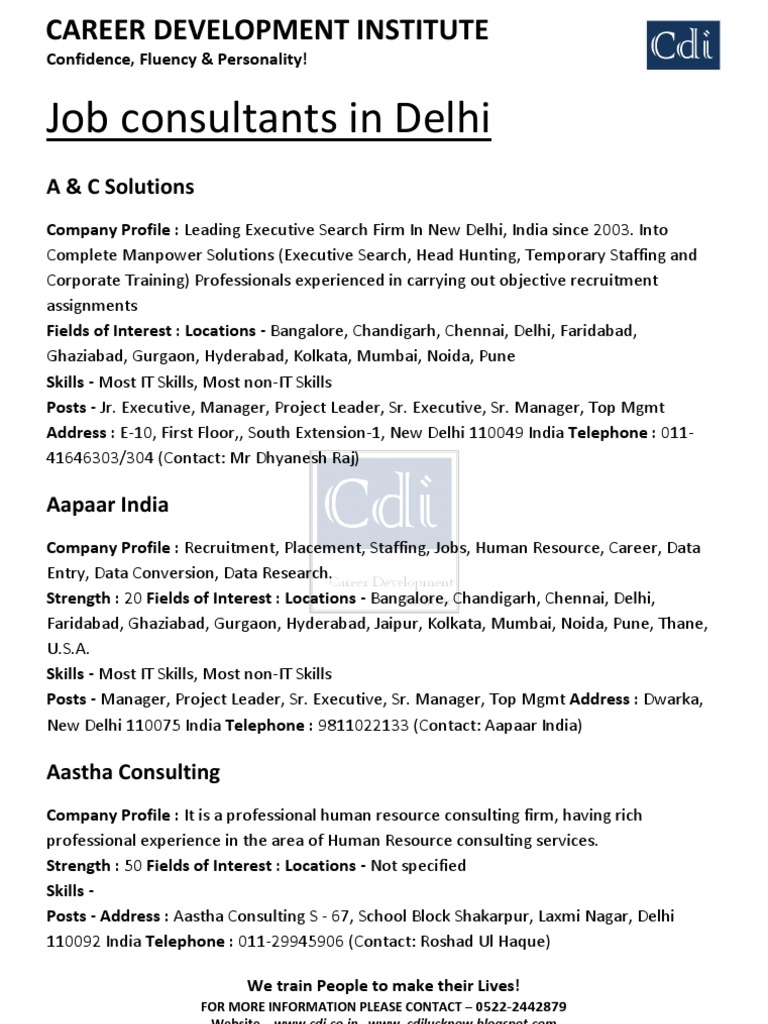 List of Job Consultants Delhi & Lucknow - CDI English Speaking
