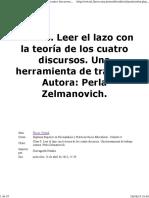 Zelmanovich, P (2013). Leer el lazo con la teoría de los cuatro discursos