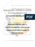 Programa Muncipal Para La Educación Ambiental