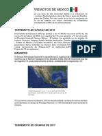 Ultimos Terremotos de Mexico