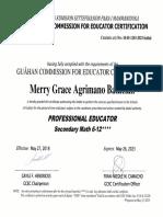 professional educator certificate horizontal