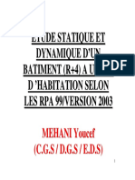 Etude Statique & Dynamique d'un Bâtiment (R+4) - Seminaire