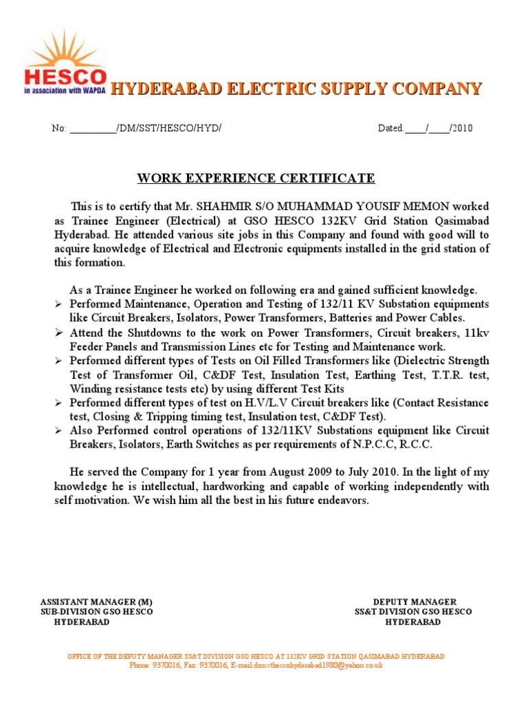 Work Experience Certificate 1 – Samples of Experience Certificate