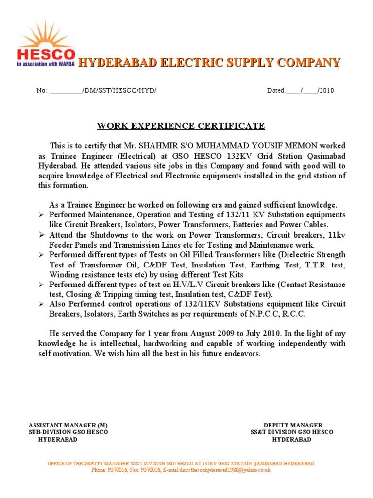 Work experience certificate 1 yadclub Gallery