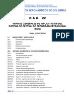 RAC 22 Normas Generales de Implantación Del Sistema de Gestión Operacional (SMS)