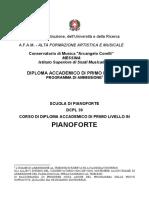 Ammissione Triennio PIANOFORTE