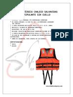 Ficha Técnica Chaleco Salvavidas Tripulante Sin Cuello