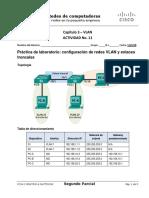 CCNA2 - Actividad No. 11 - Cap 3 - LAB3 - VLAN y Enlace Troncal