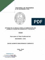 ESTUDIO DE LA ARCILLA PARA LA FABRICACION DEL LADRILLO COCIDO EN HUANCAYO Y PUCALLPA