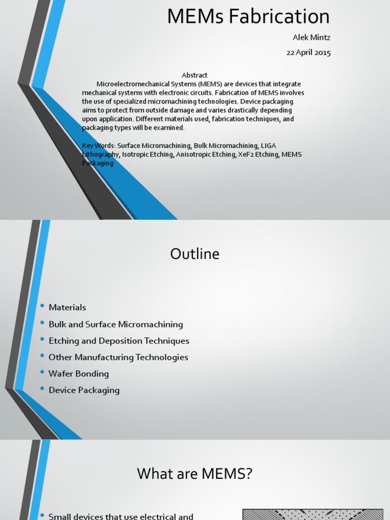 Mems Fabrication Alek Mintz Microelectromechanical Systems Semiconductors