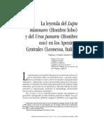 La Leyenda Del Lupu Mannaro (Hombre Lobo) y Del Ursu Panaru (Hombre Oso) en Los Apeninos Centrales (Leonessa, Italia)