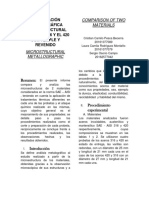 Comparación Metalográfica Microestructural de Dos Materiales
