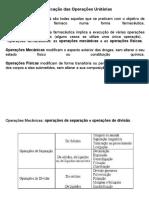Classificação das Operações Unitárias