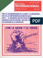 Revista Internacional. Edicion Chilena. Nuestra Epoca N°4. Abril 1982