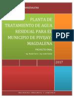 Diseño de Una Planta de Tratamiento de Agua Residual Para El Municipio de Pivijay
