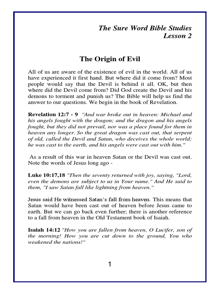 02 the Origin of Evil | Serpents In The Bible | Devil