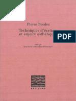 Pierre Boulez Techniques d Ecriture Et Enjeux Esthetiques Epub Preview