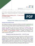 Telangana Police Syllabus 2016 PDF _ TS SI PTO Exam Pattern