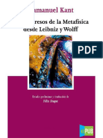 Immanuel Kant - Los Progresos de La Metafisica Desde Leibniz y Wolff