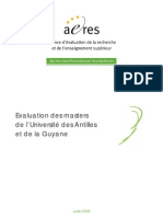 Evaluation des masters de l'Université des Antilles et de la Guyane