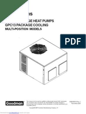 goodman hvac gph1324h21 service manual thermostat air