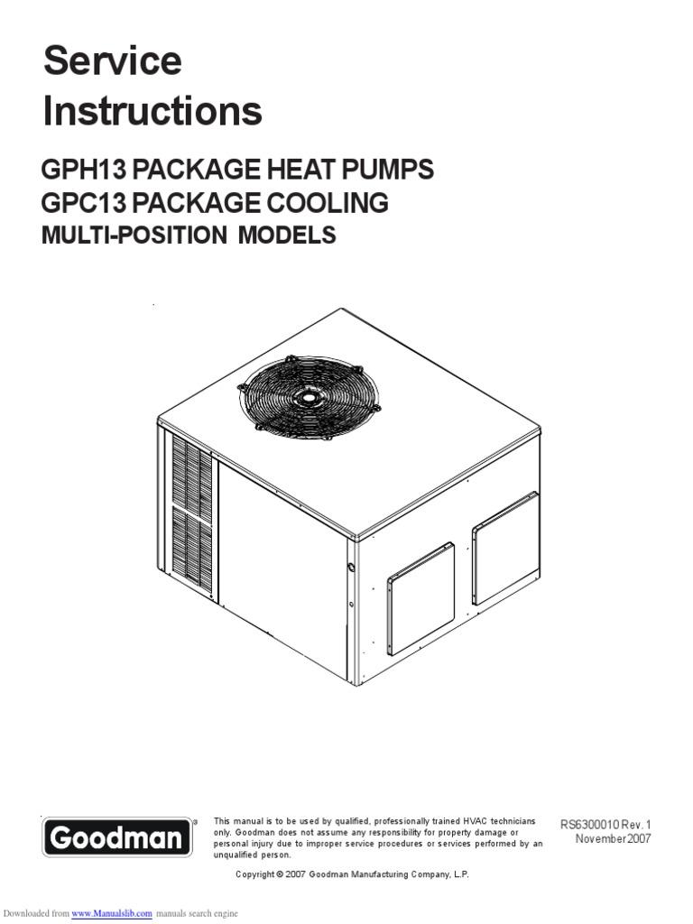 goodman heating wiring diagram free download goodman hvac gph1324h21 service manual thermostat air conditioning  goodman hvac gph1324h21 service manual