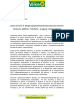 Declaracion Alianza Verde Segunda Vuelta Presidencial 2018