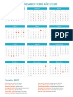 Calendario Peru 2020