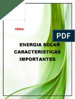Caracteristicas Importantes Energia Solar