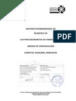 APD 1.2 Protocolo Sist. Estandarizado Registro Procedimiento de Hemodiálisis HRR V2 2014