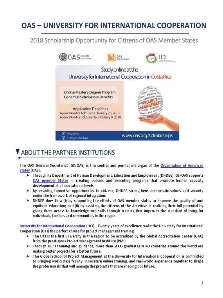 2018 Oas Uci Scholarshipannouncementpdf University And College