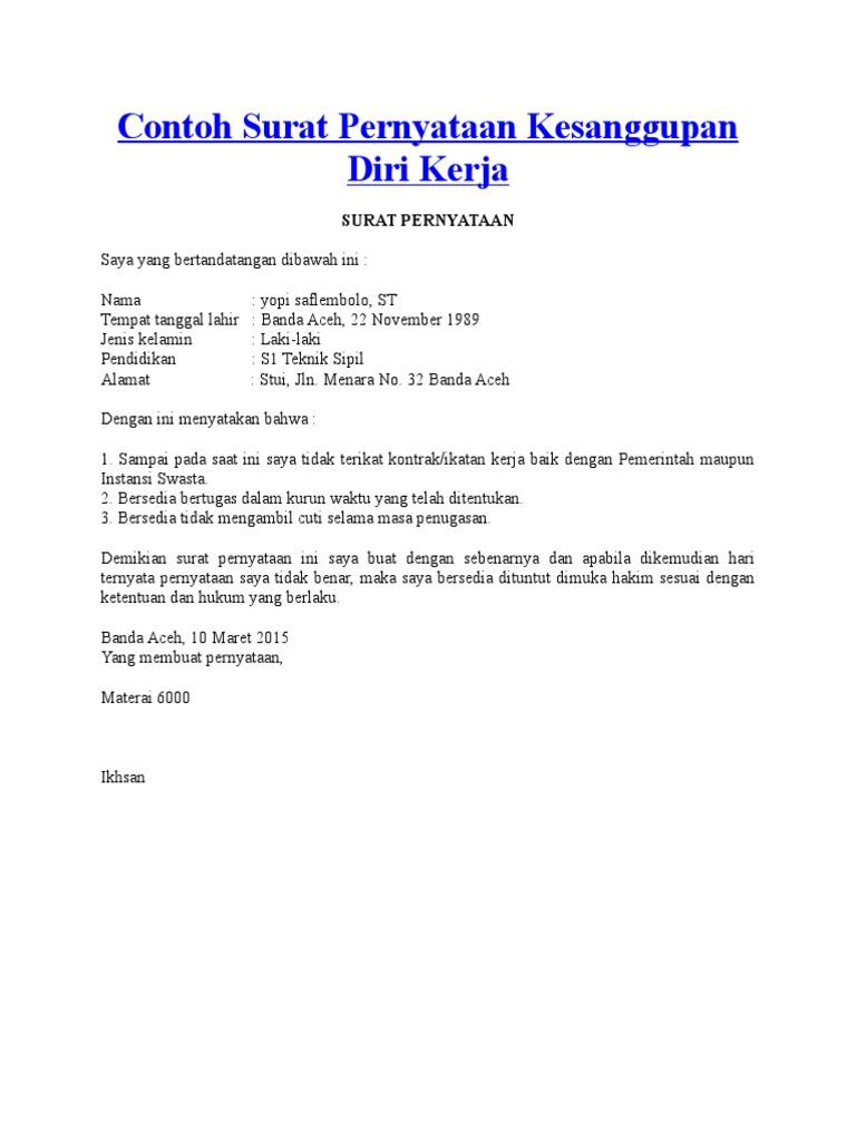 Contoh Surat Pernyataan Diri Detil Gambar Online