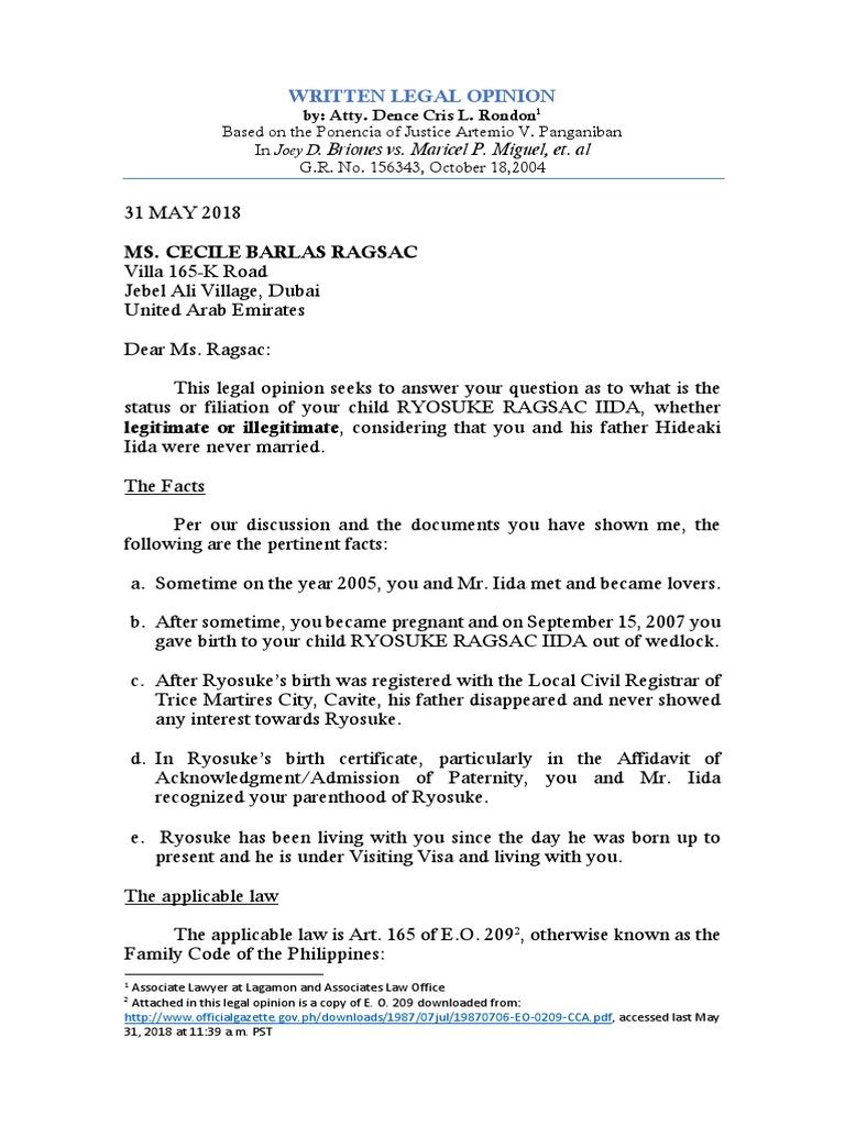 Written Legal Opinion Ragsac Latest | Legitimacy (Family Law