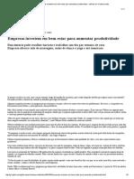 G1 - Empresas Investem Em Bem-estar Para Aumentar Produtividade - Notícias Em Contacorrente
