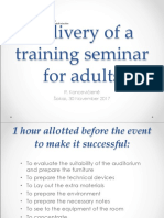 TAU Delivery of a Training Seminar for Adults