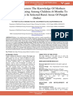 A Study to Assess the Knowledge of Mothers Regarding Weaning Among Children 6 Months to 2 Years of Age in Selected Rural Areas of Punjab India