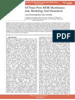 Preparation of Nano Pore Mor Membranes Experimental Modeling and Simulation