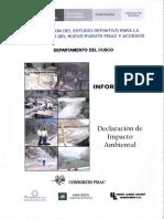 Elaboracion Del Estudio Definitivo Para La Construccion Del Nuevo Puente Pisac y Accesos (Informe