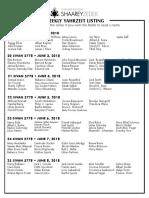 June 2, 2018 Yahrzeit List